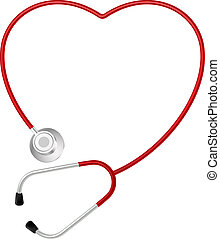 stetoskop, hjärta, symbol