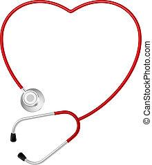 stetoskop, hjerte, symbol