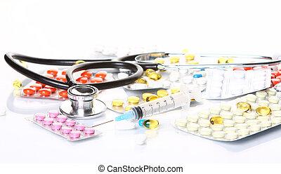 stetoskop, hos, forskellige, farmaceutisk, materiale