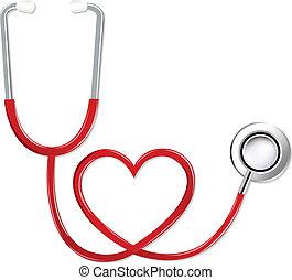 stetoskop, ind form, i, hjerte