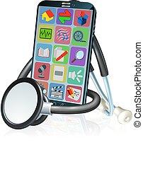 stetoskop, konstruktion, app, ambulant, sundhed, telefon, medicinsk