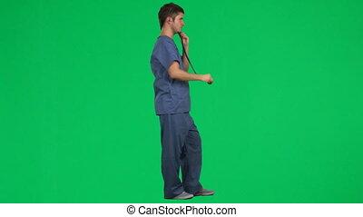 stetoskop, młody doktor