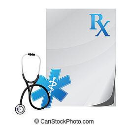 stetoskop, medyczny, recepta