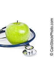 stetoskop, och, äpple