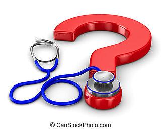 stetoskop, och, fråga, vita, bakgrund., isolerat, 3, avbild