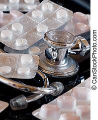 stetoskop, og, blist, pillerne, close-up
