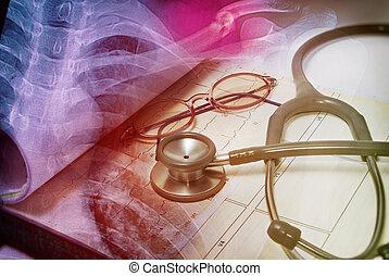 stetoskop, og, medicinsk kort, by, medicinsk, tema