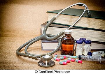 stetoskop, og, pillerne, på, en, medicinsk, bog