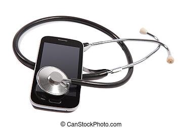 stetoskop, på, bevægelig telefoner.