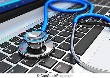 stetoskop, på, laptop klaviatur
