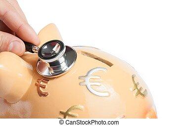 stetoskop, på, piggy bank, en, piggy bank, begreb, by, frelser penge