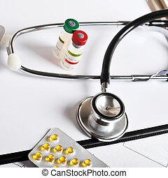 stetoskop, på, utskrift