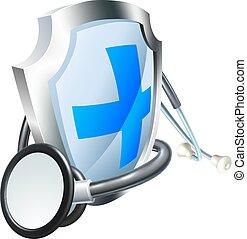 stetoskop, skjold, begreb, healthcare