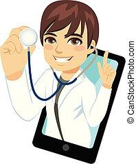 stetoskop, smartphone, męski doktor