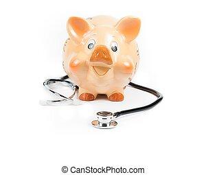 stetoskop, uden for, piggy bank, en, piggy bank, begreb, by, frelser penge