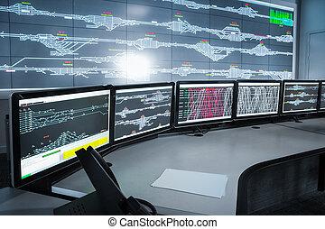 steuer raum, elektronisch, wissenschaft, backgrou, modern, technologie