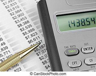 steuer, taschenrechner, stift