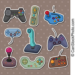 steuerknüppel, aufkleber, spiel, karikatur