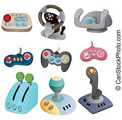 steuerknüppel, satz, spiel, ikone, karikatur