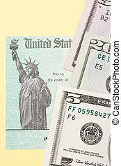 steuerrückerstattung, scheck