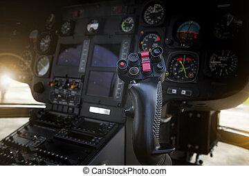 steuerung, cockpit, stock, hubschrauber, seite, pilot