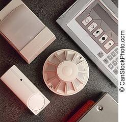 steuerung, feuer, rauchwolken, konsole, detektoren