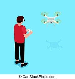 steuerung, flug, drone., virtuelle wirklichkeit, gebrauchend, brille