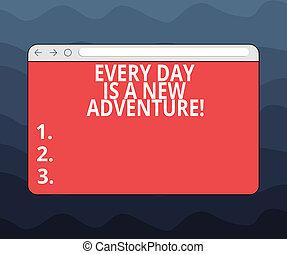 steuerung, motivation, foto, leer, dein, merkzettel, monitor, schreibende, adventure., start, text, fortschritt, schirm, geschaeftswelt, ausstellung, space., jedes, neuer tag, bar, tage, showcasing, positivism