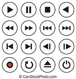 steuerung, multimedia, satz, icon/button