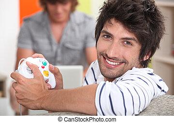 steuerung, spiel, video, besitz, polster, mann