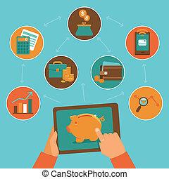 steuerung, wohnung, stil, finanz, app, -, vektor, online