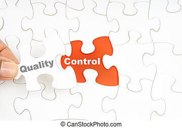 steuerung, wort, puzzel, stichsaege, hand holding, stück, qualität