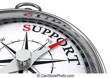 steun, concept, kompas