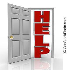 steun, deur, helpen, hulp, opening