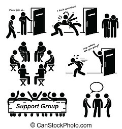 steun groep, vergadering, cliparts