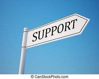 steun, knippend pad, wegwijzer