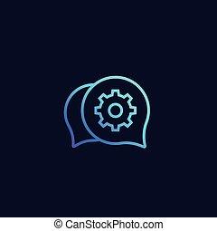 steun, praatje, vector, pictogram
