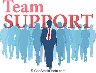 steun, team, reservekopie, zakenlui