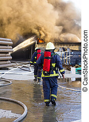steun, vuur, vechten, brandweerlieden, gaan, plant
