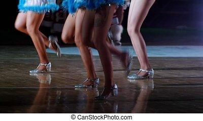 steunen, dancing, kostuums, schittering, team, vrouwen