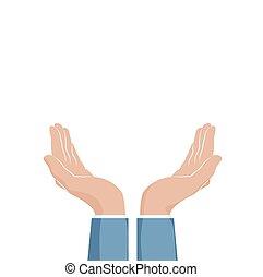 steunen, twee, illustratie, vrijstaand, cupped, vector, witte , hands.