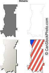 Stevens County, Washington outline map set
