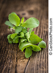 Stevia leaves (selective focus) - Portion of Stevia leaves...