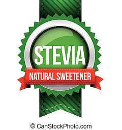 stevia, -, natürlich, süßstoff, geschenkband, vektor