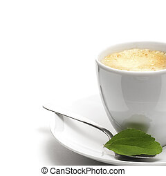stevia plant and coffee cup, decorative background for right border of a page