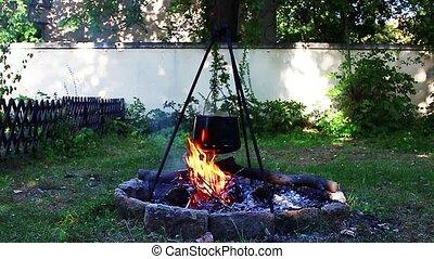 Stew fire cokking in garden
