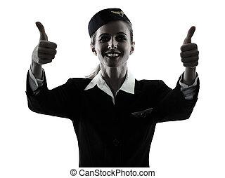 stewardeß, kabine- mannschaft, frau, daumen hoch, silhouette