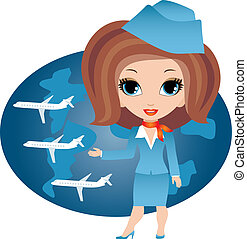 stewardeß, karikatur