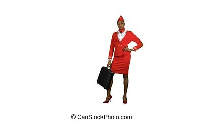 Stewardess African American standing with a briefcase in his hands. Alpha channel