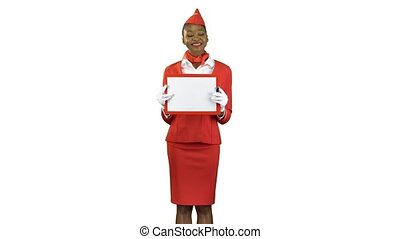 Stewardess afro american raises a red folder with a white sheet of paper . Alpha channel